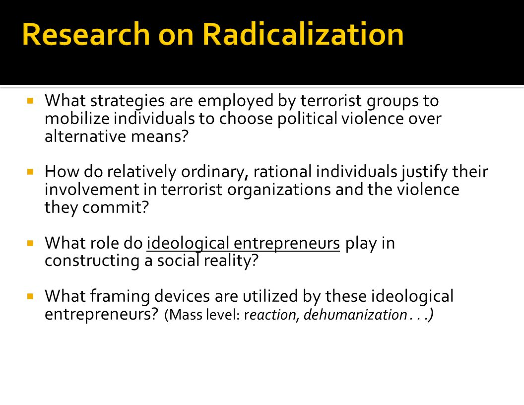 Research on Radicalization