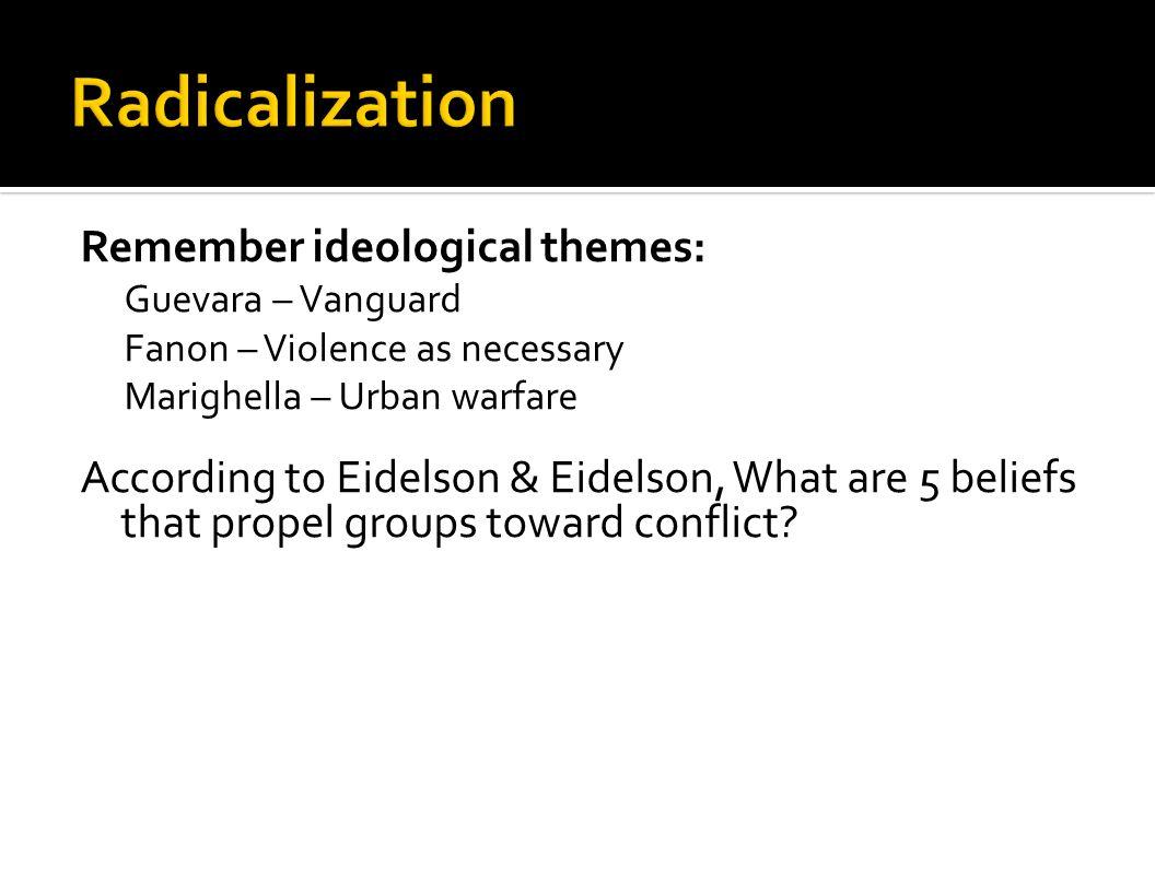 Radicalization Remember ideological themes: