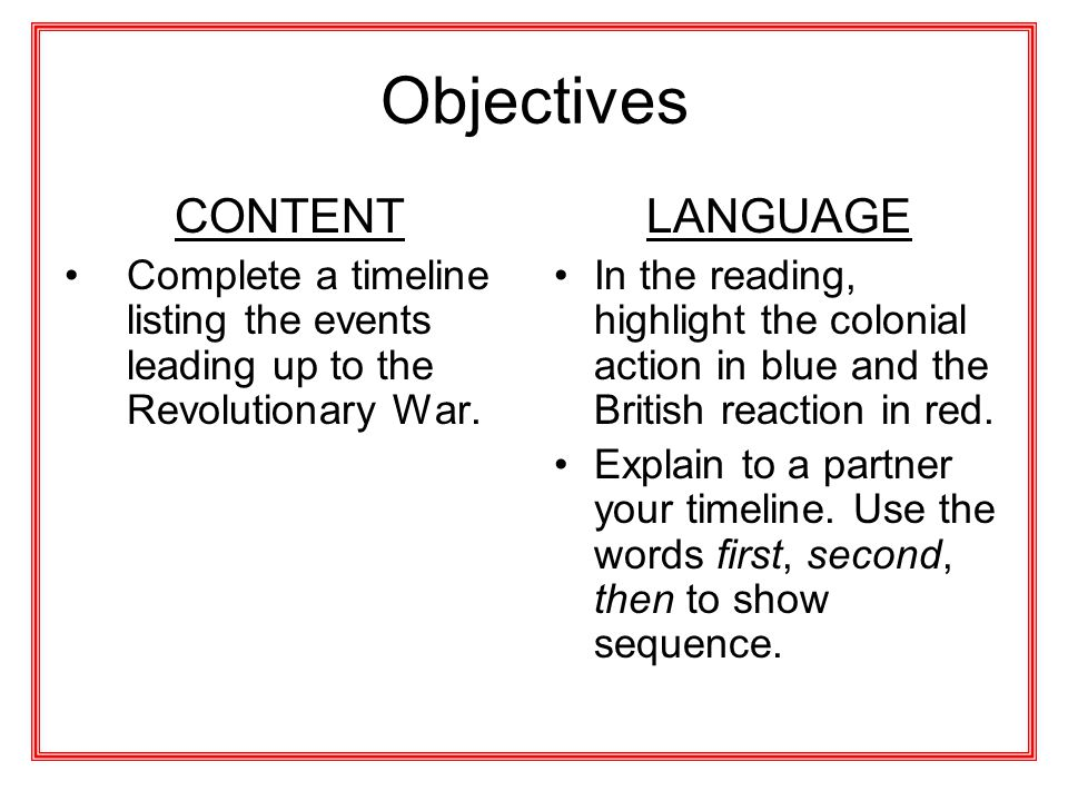 Objectives CONTENT LANGUAGE