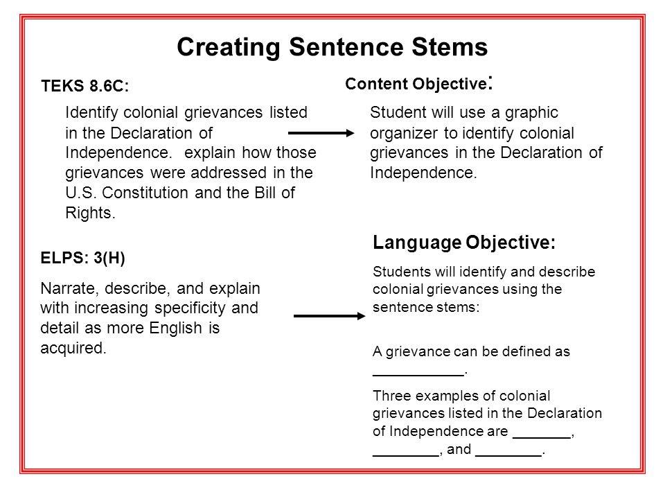 Creating Sentence Stems