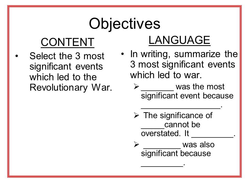 Objectives LANGUAGE CONTENT
