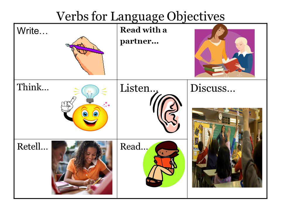 Verbs for Language Objectives