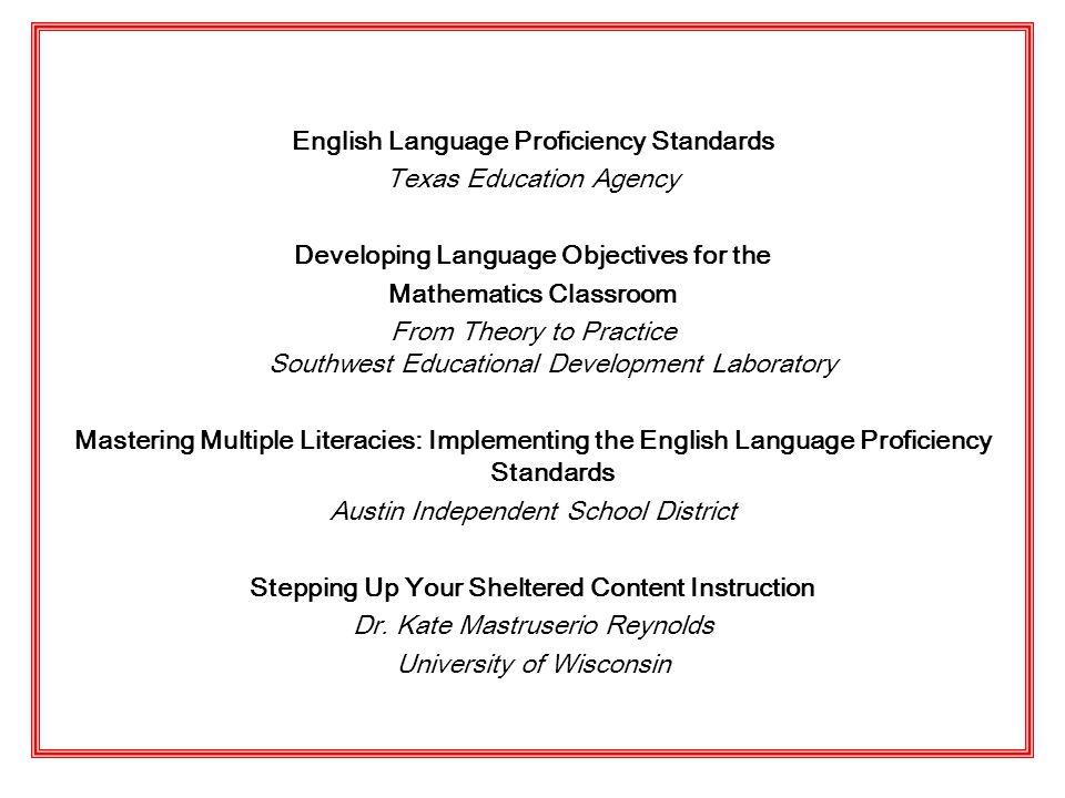 English Language Proficiency Standards Texas Education Agency