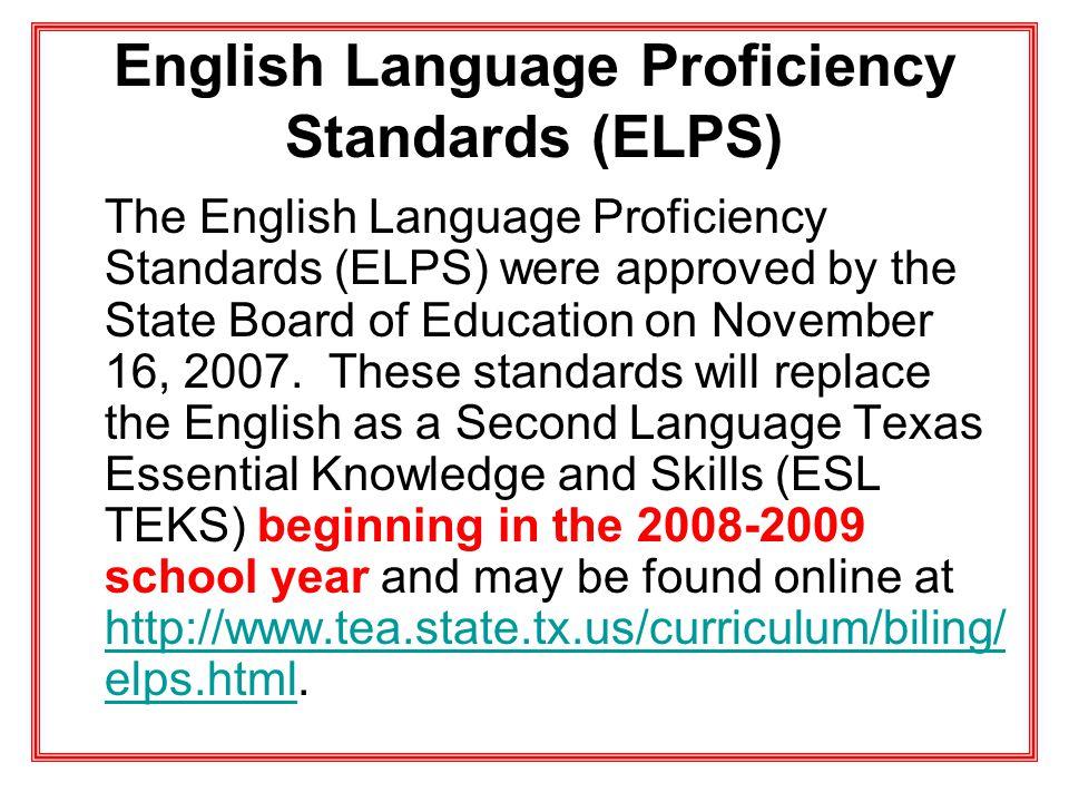 English Language Proficiency Standards (ELPS)