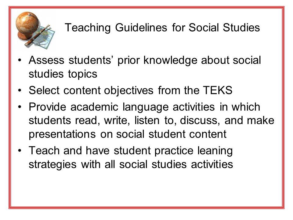Teaching Guidelines for Social Studies