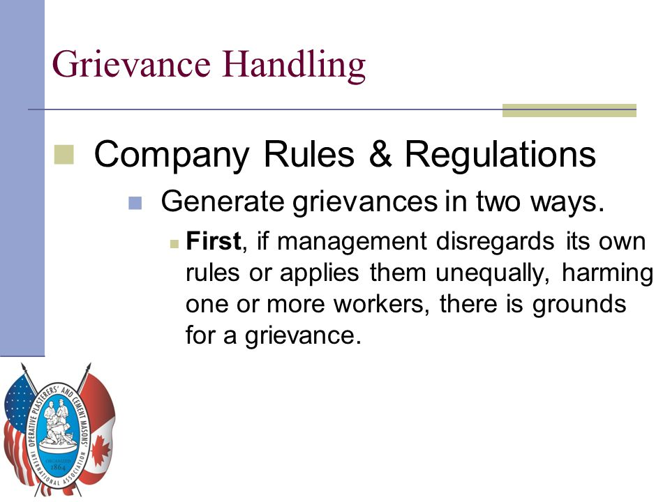 Grievance Handling Company Rules & Regulations