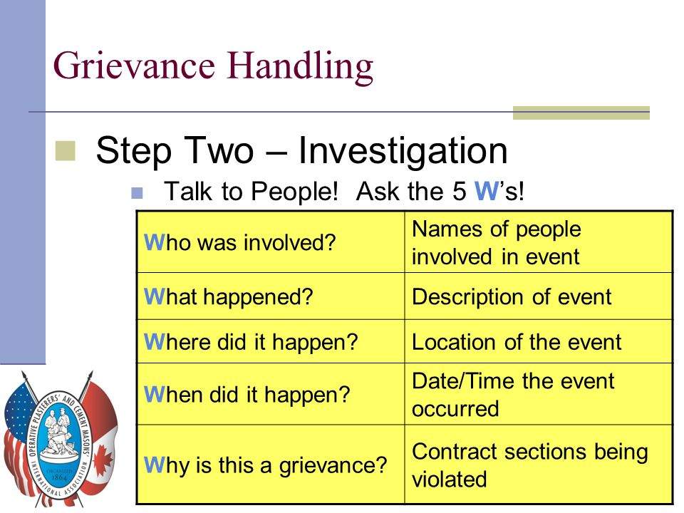 Grievance Handling Step Two – Investigation