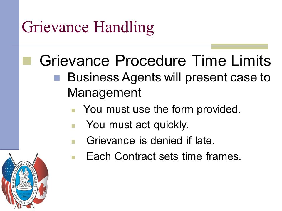 Grievance Handling Grievance Procedure Time Limits