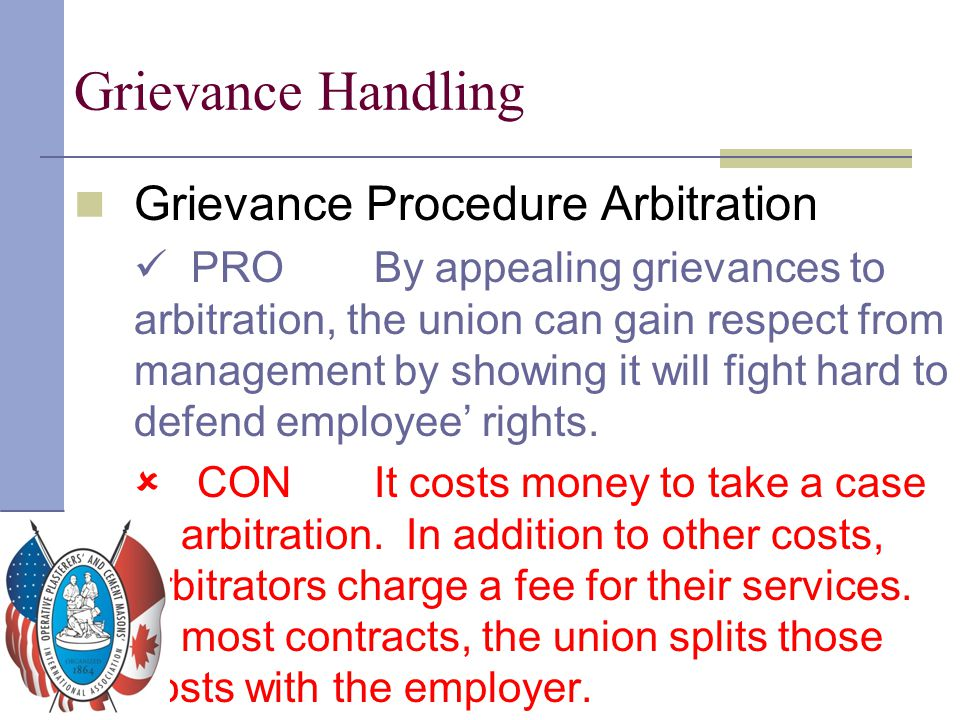Grievance Handling Grievance Procedure Arbitration