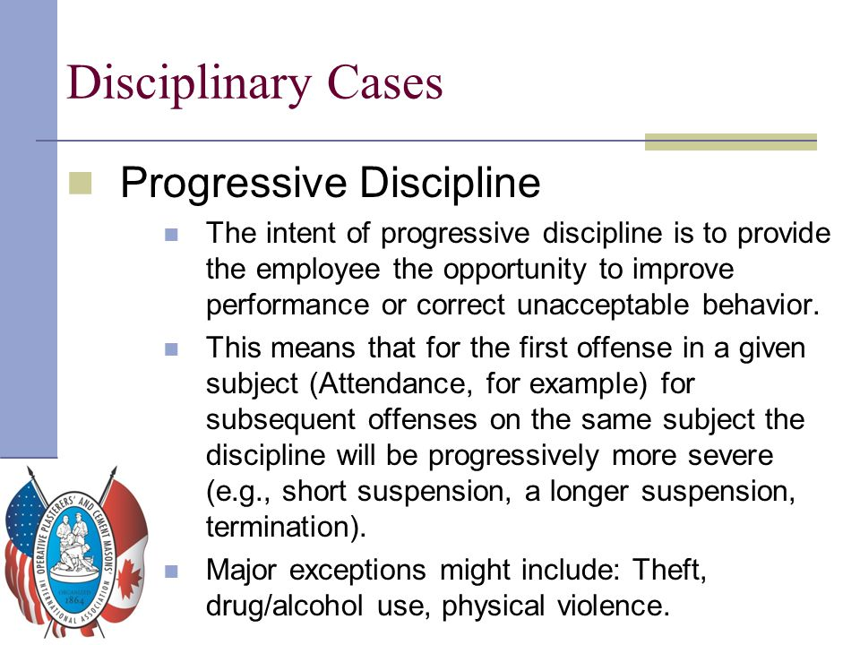 Disciplinary Cases Progressive Discipline