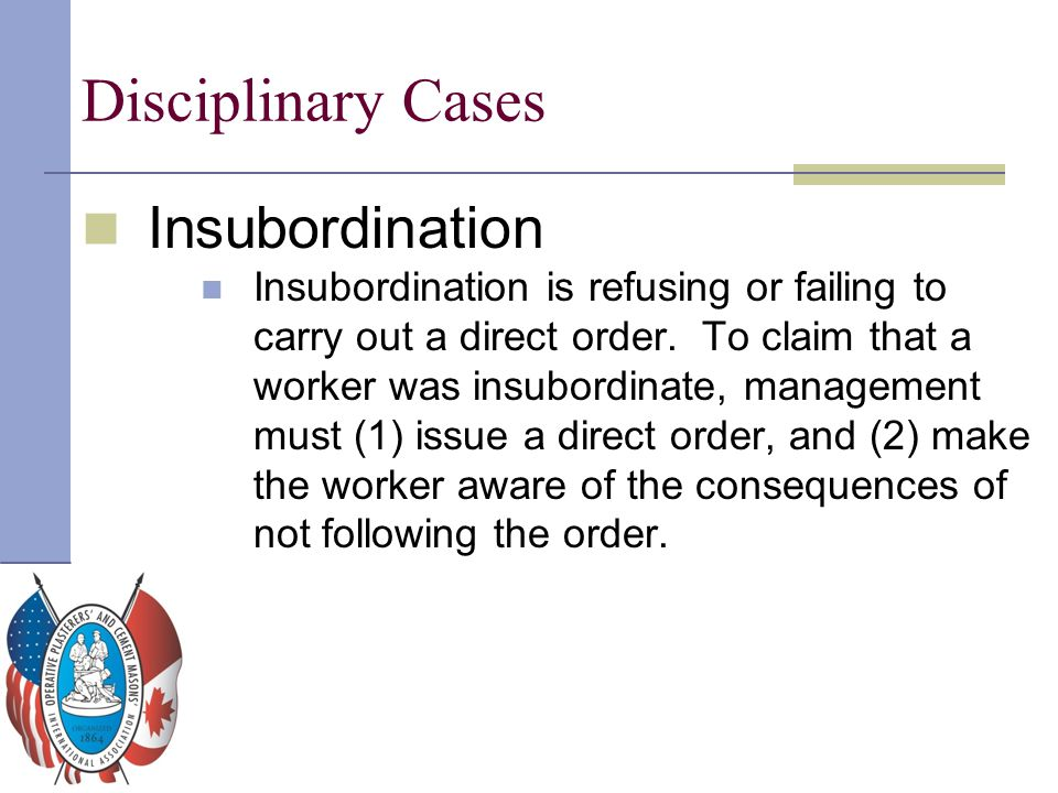 Disciplinary Cases Insubordination