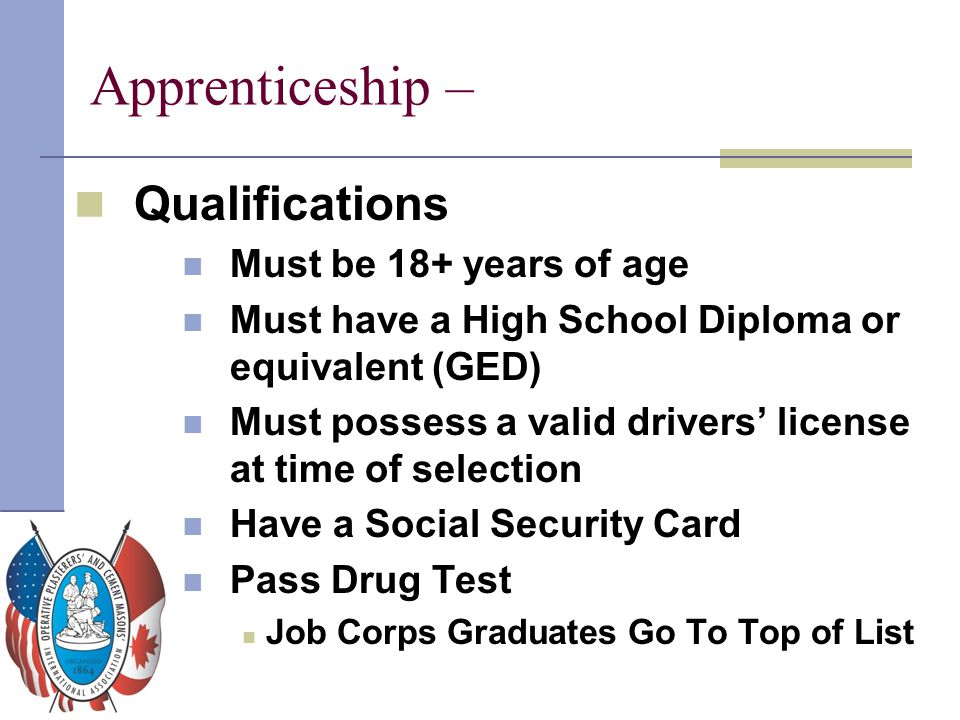Apprenticeship – Qualifications Must be 18+ years of age