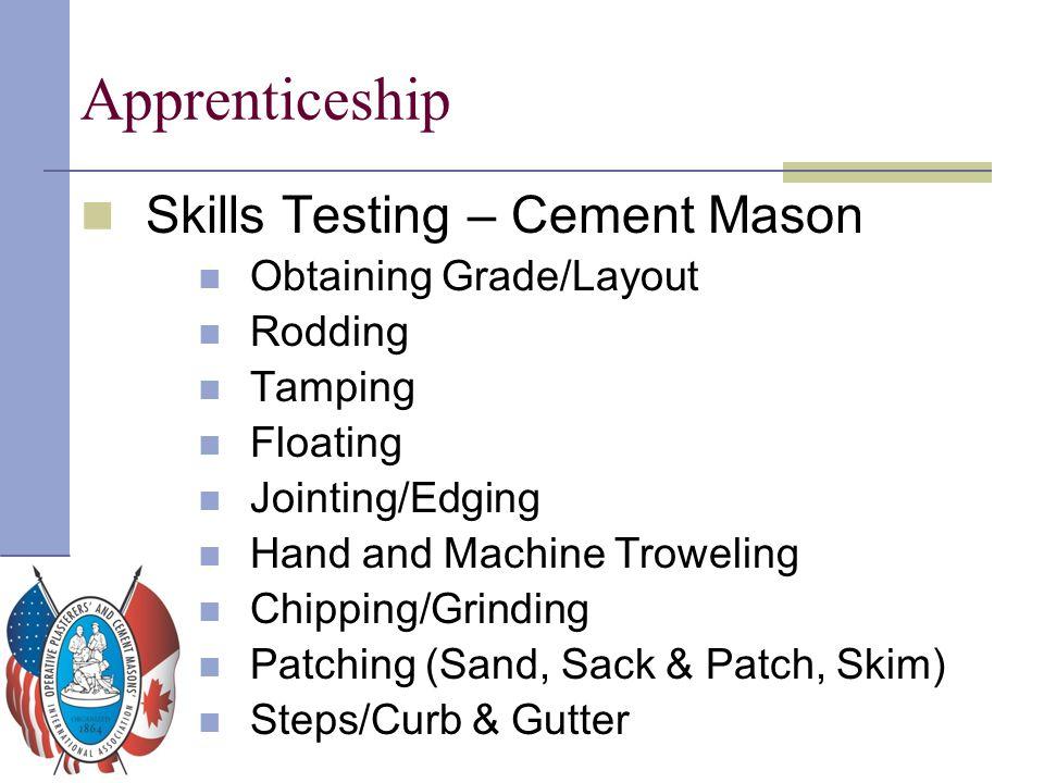Apprenticeship Skills Testing – Cement Mason Obtaining Grade/Layout