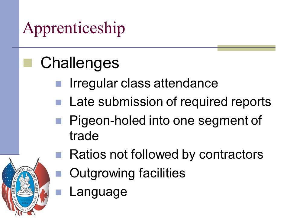 Apprenticeship Challenges Irregular class attendance
