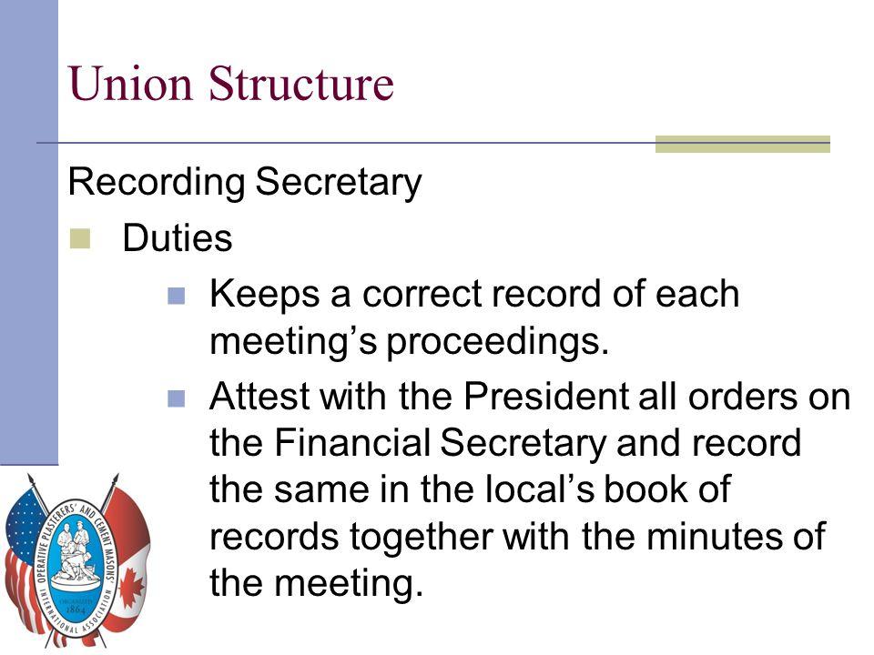 Union Structure Recording Secretary Duties