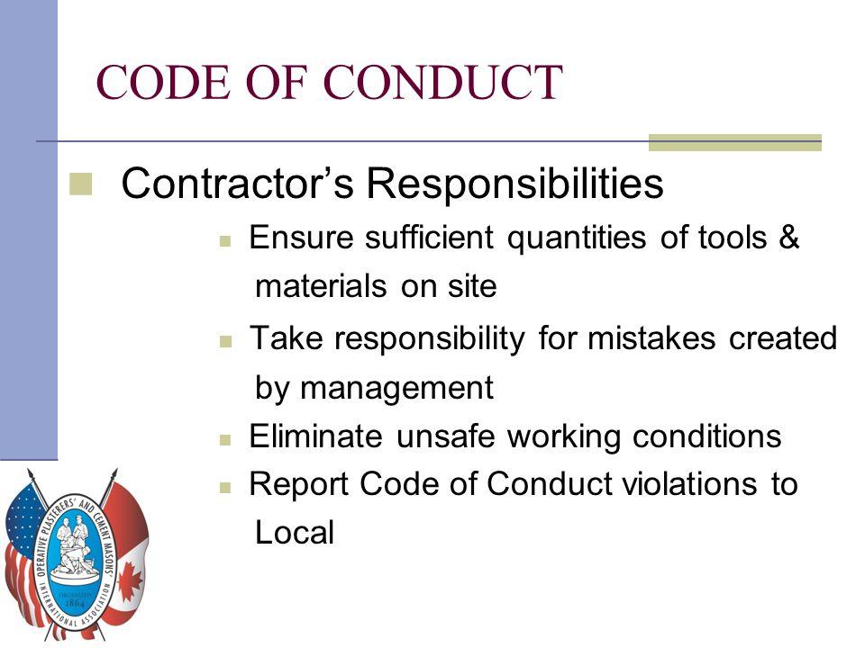 CODE OF CONDUCT Contractor's Responsibilities