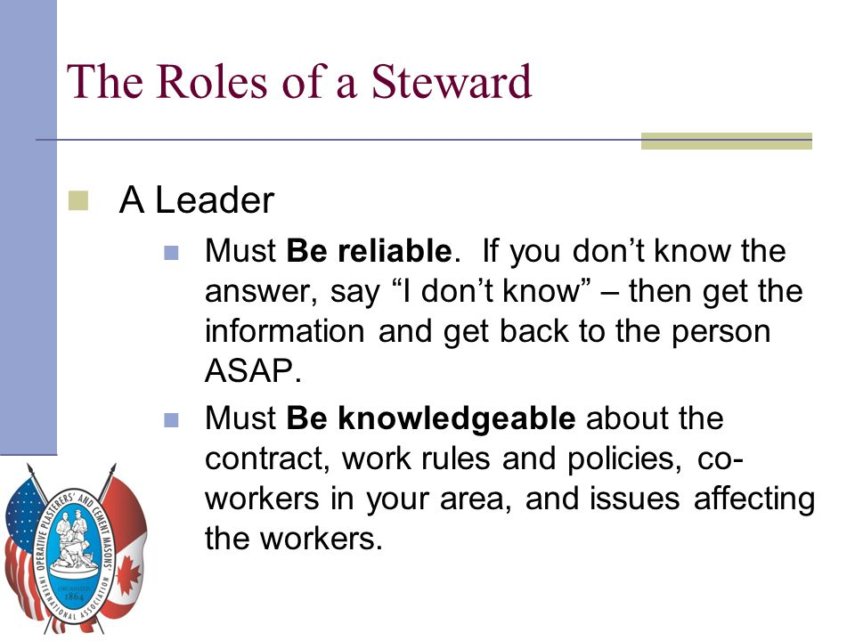 The Roles of a Steward A Leader