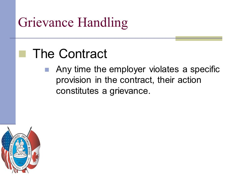 Grievance Handling The Contract