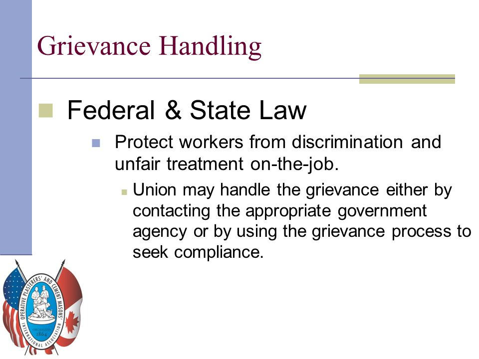 Grievance Handling Federal & State Law
