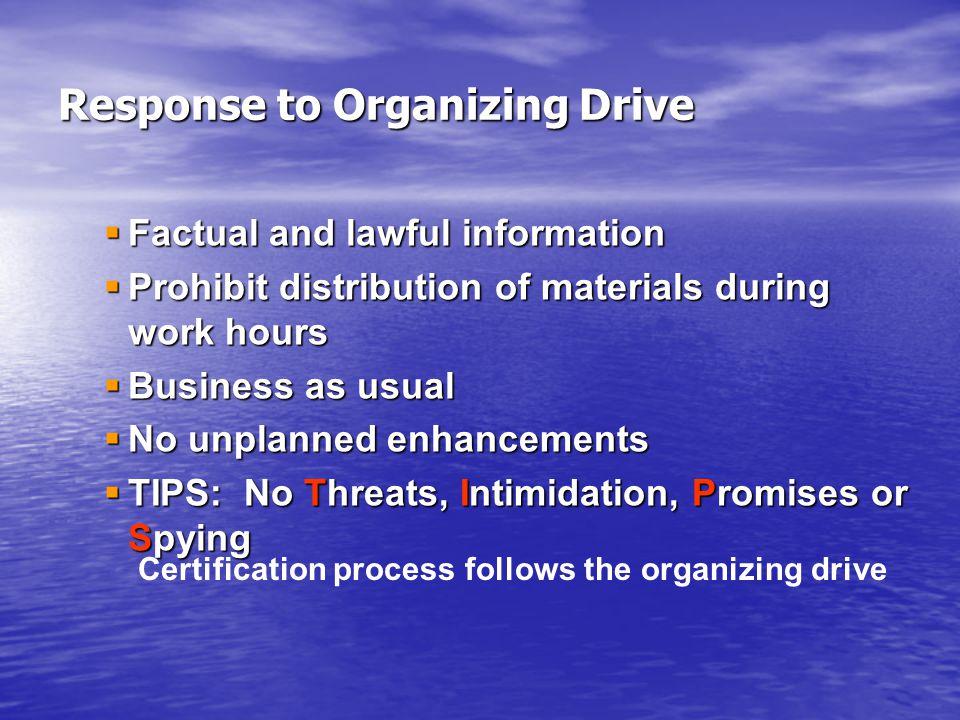 Response to Organizing Drive
