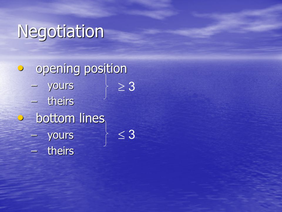 Negotiation opening position yours theirs bottom lines  3  3