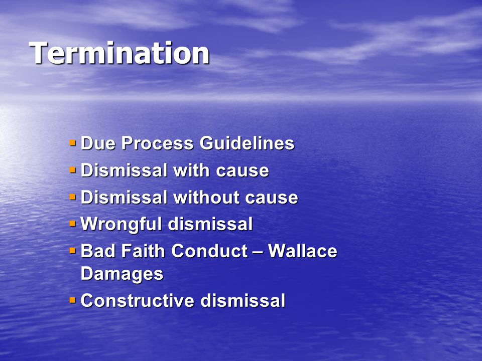 Termination Due Process Guidelines Dismissal with cause