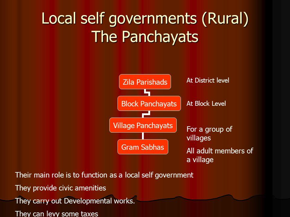 Local self governments (Rural) The Panchayats