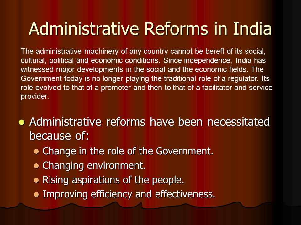 Administrative Reforms in India