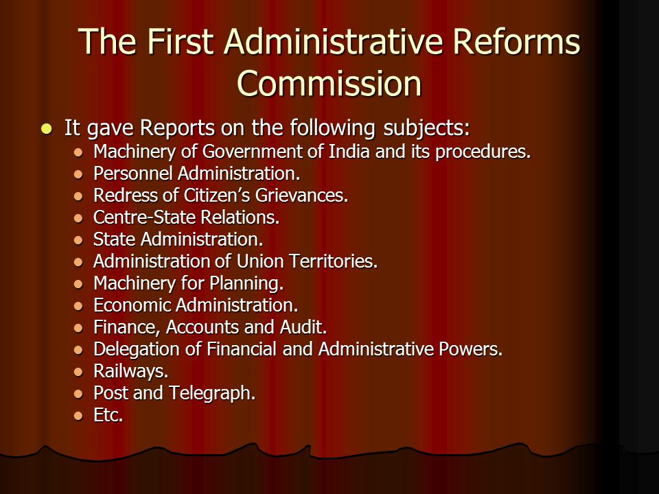 The First Administrative Reforms Commission
