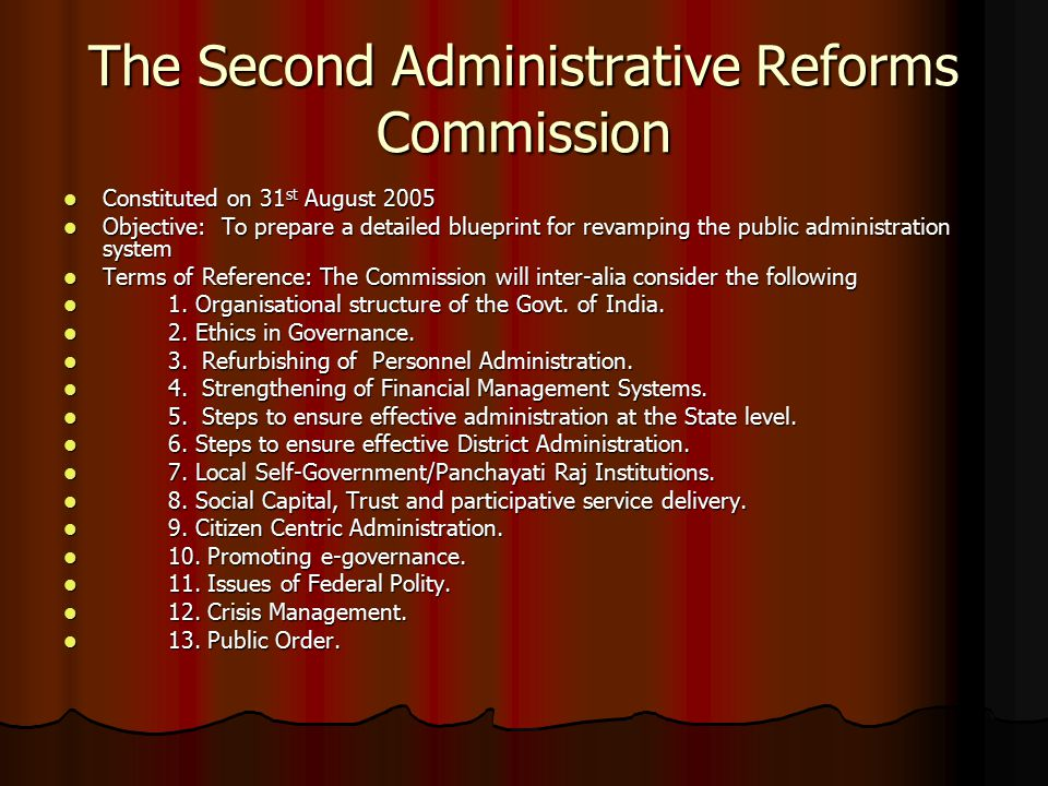 The Second Administrative Reforms Commission