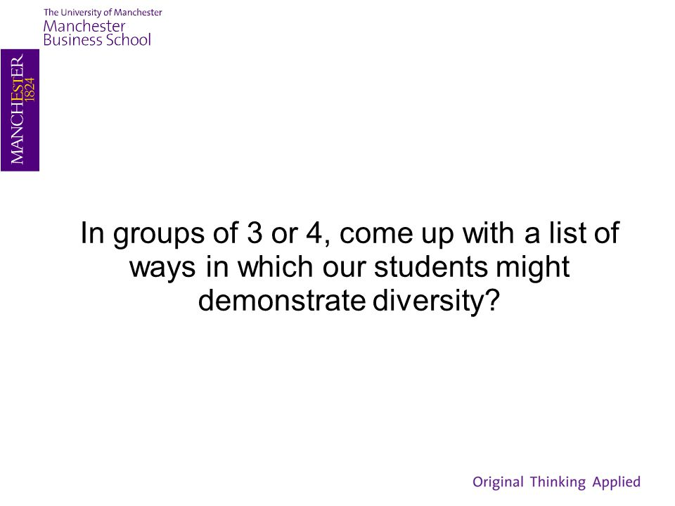 In groups of 3 or 4, come up with a list of ways in which our students might demonstrate diversity