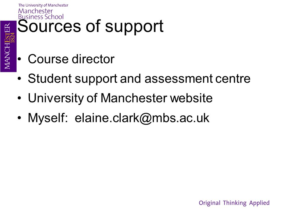 Sources of support Course director