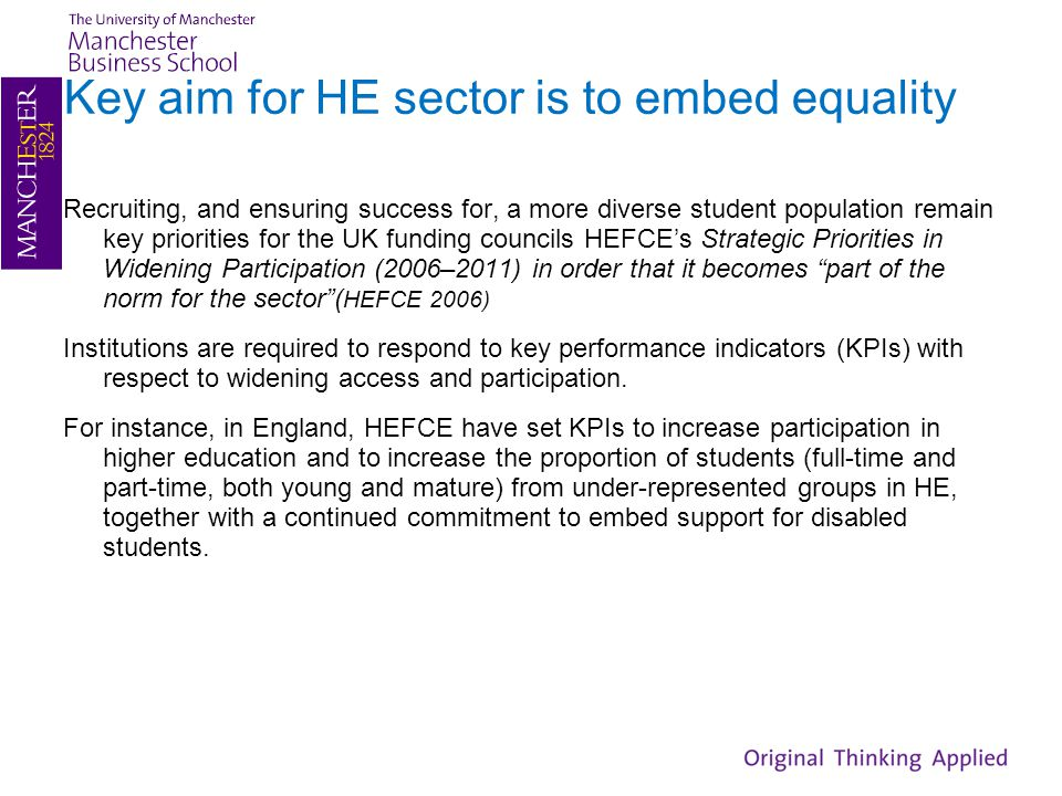 Key aim for HE sector is to embed equality