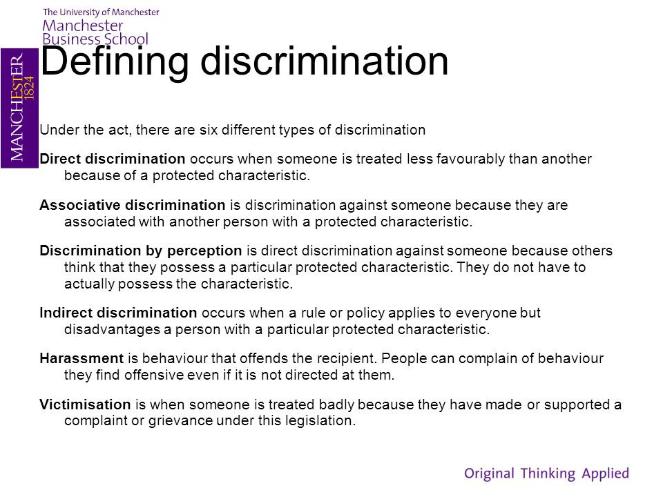 Defining discrimination