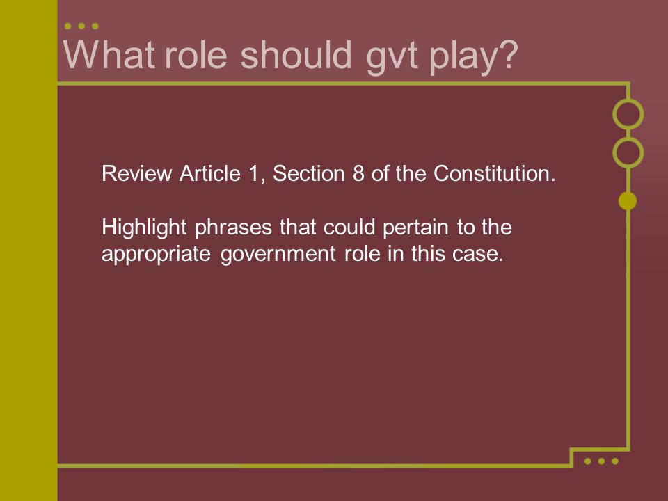 What role should gvt play