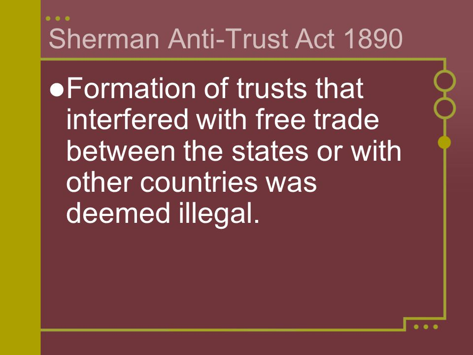 Sherman Anti-Trust Act 1890
