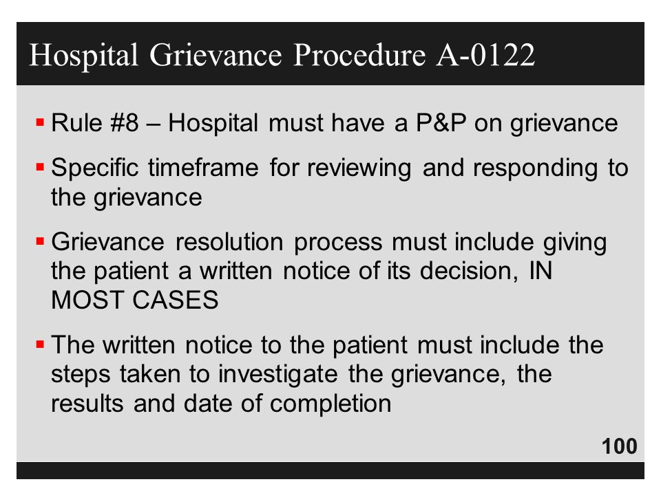 Hospital Grievance Procedure A-0122