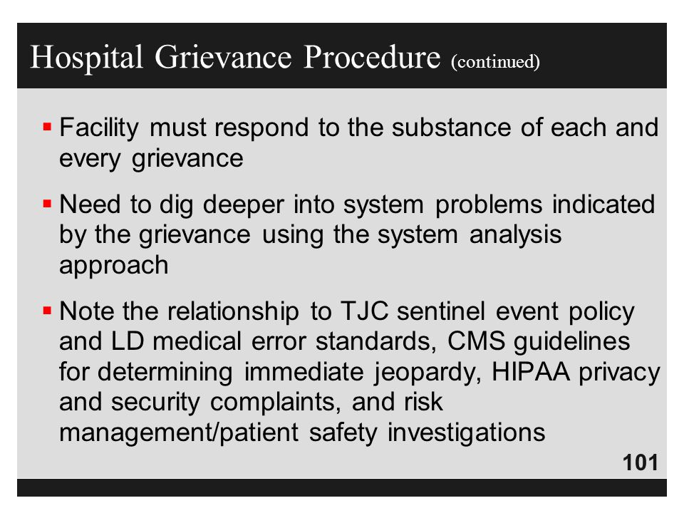 Hospital Grievance Procedure (continued)