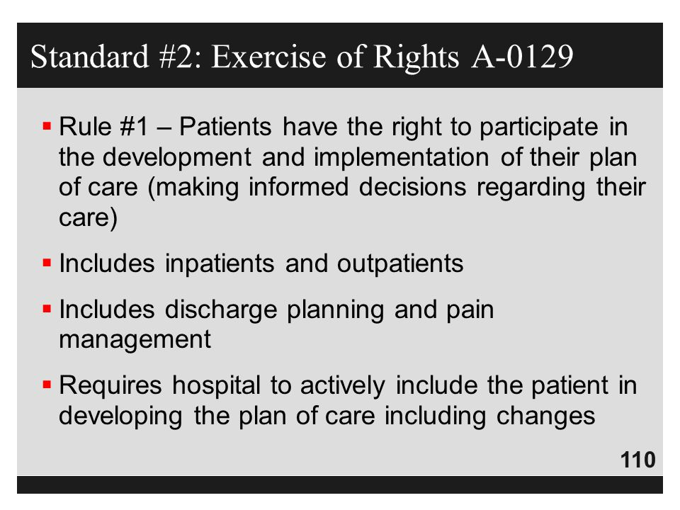 Standard #2: Exercise of Rights A-0129