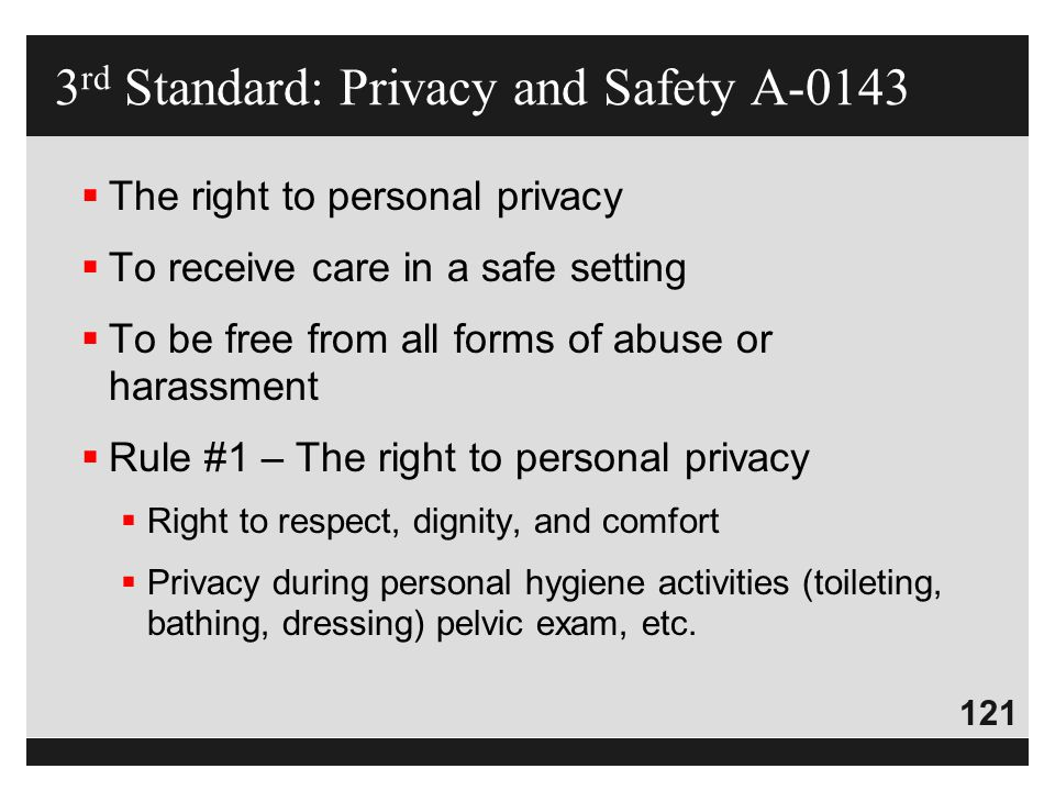 3rd Standard: Privacy and Safety A-0143
