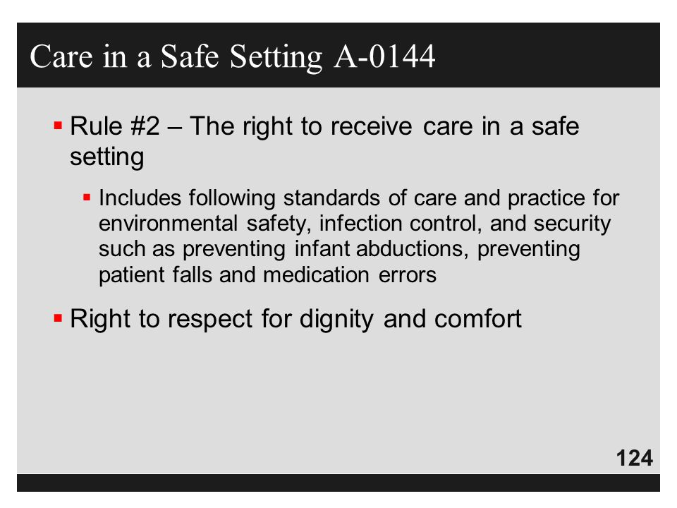 Care in a Safe Setting A-0144