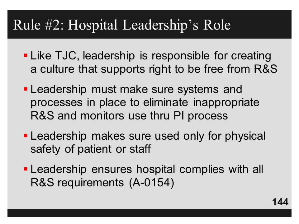 Rule #2: Hospital Leadership's Role