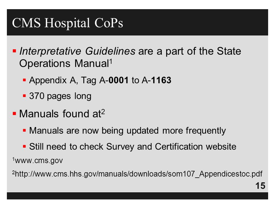 CMS Hospital CoPs Interpretative Guidelines are a part of the State Operations Manual1. Appendix A, Tag A-0001 to A-1163.