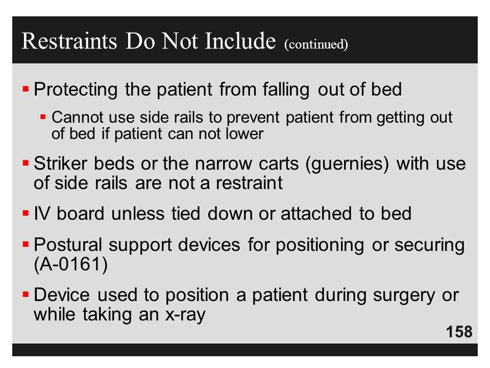 Restraints Do Not Include (continued)