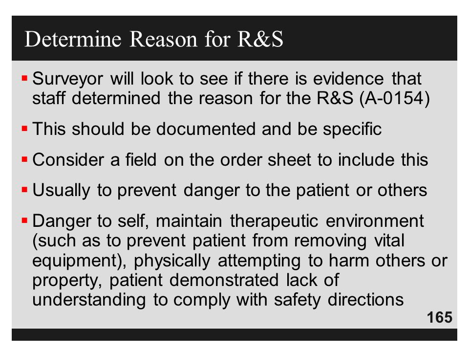 Determine Reason for R&S