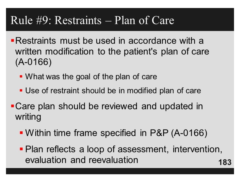 Rule #9: Restraints – Plan of Care