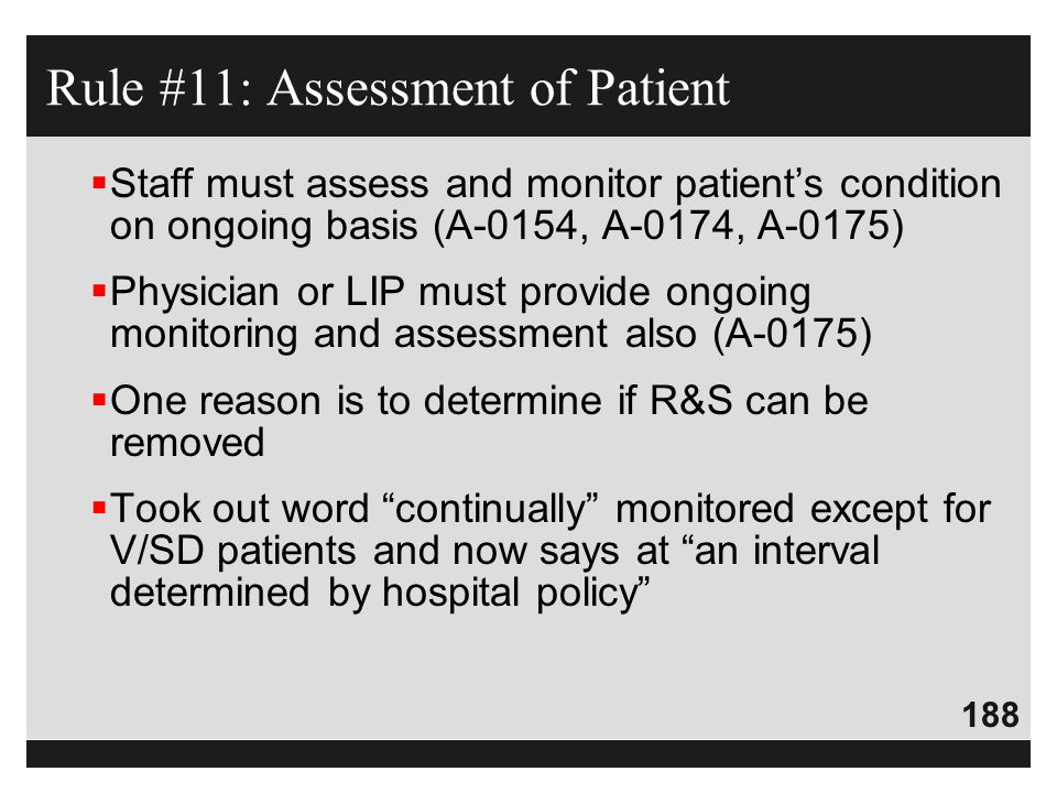 Rule #11: Assessment of Patient