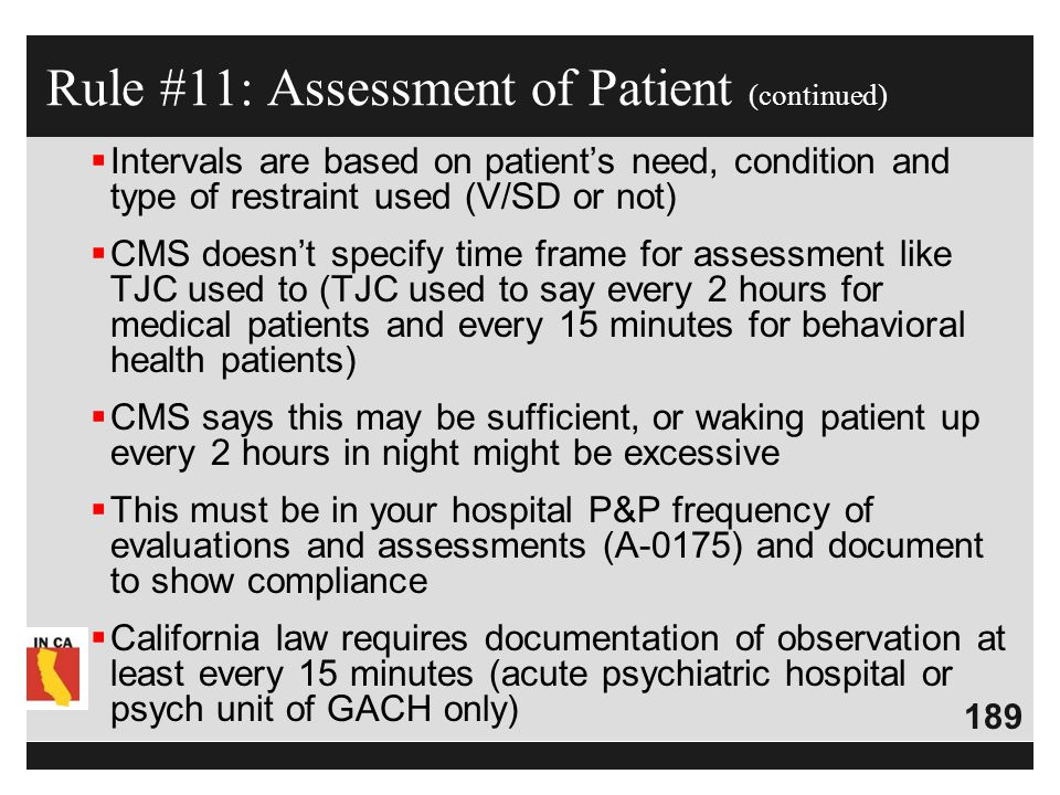 Rule #11: Assessment of Patient (continued)