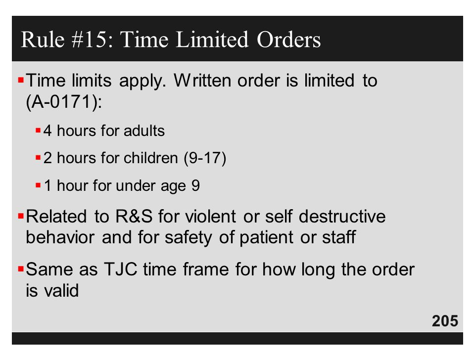 Rule #15: Time Limited Orders