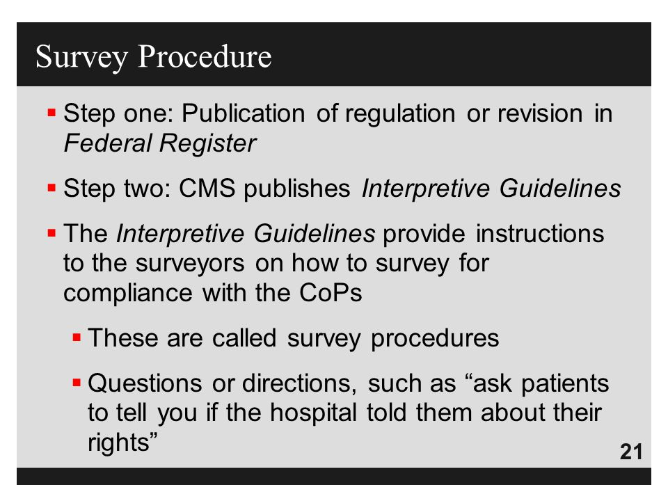 Survey Procedure Step one: Publication of regulation or revision in Federal Register. Step two: CMS publishes Interpretive Guidelines.